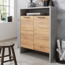 Paseo Storage Cabinet In Light Concrete Golden Oak With 2 Doors