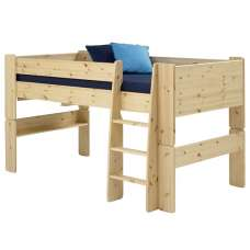Pathos Wooden Mid Sleeper Bed In Pine With Ladder