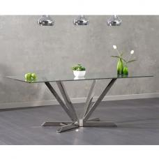 Patrick Rectangular Glass Dining Table With Stainless Steel Legs