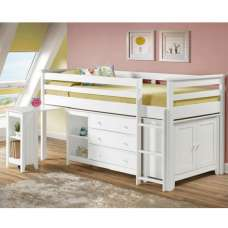 Pegasus Midi Sleeper Bed In White With Storage And Desk
