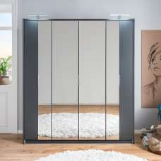 Perla Mirrored Wardrobe Large In Aluminium Effect And Graphite