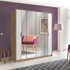 Perla Mirrored Wardrobe Large In Planked Oak Effect And White