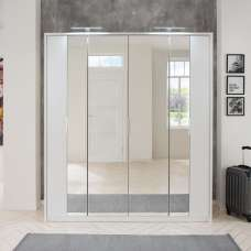 Perla Mirrored Wardrobe Large In White With Revolving Doors