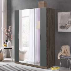 Perla Mirrored Wardrobe In Muddy Oak Effect And Graphite