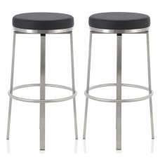 Perona Bar Stool In Black Faux Leather And Steel Legs In A Pair