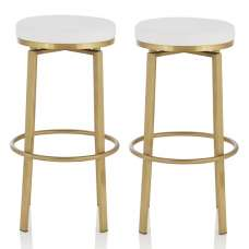 Perona Bar Stool In White Faux Leather And Gold Legs In A Pair