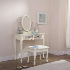 Contemporary Mirrored Dressing Table Set In Ivory