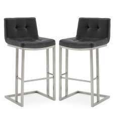 Pietro Bar Stool In Black PU And Brushed Metal Frame In A Pair