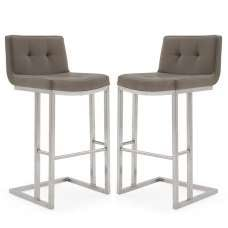 Pietro Bar Stool In Brown PU And Brushed Metal Frame In A Pair