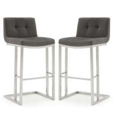 Pietro Bar Stool In Grey PU With Brushed Metal Frame In A Pair