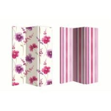 Riviera Berry Canvas Double Sided Room Divider With Stripes