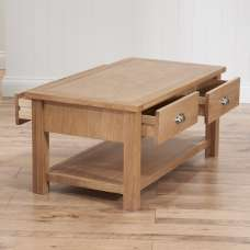 Platina Wooden Storage Coffee Table In Oak With 4 Drawers