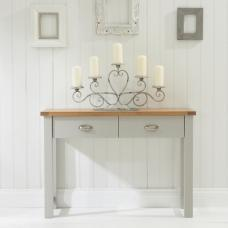 Platina Console Table In Oak And Grey With 2 Drawers