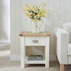 Platina Wooden Lamp Table Square In Oak And Cream