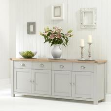 Platina Wooden Large Sideboard In Grey And Oak With 4 Doors