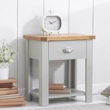 Platina Wooden Bedside Table In Oak And Grey With Drawer