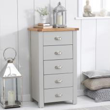 Platina Tall Chest Of Drawers In Grey And Oak With 5 Drawers