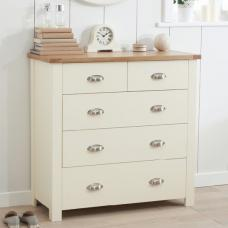 Platina Modern Chest Of Drawers In Cream And Oak With 5 Drawers