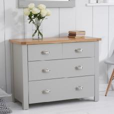 Platina Small Chest Of Drawers In Grey And Oak With 4 Drawers