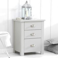 Platina Wooden Tall Bedside Cabinet In Grey With 3 Drawers