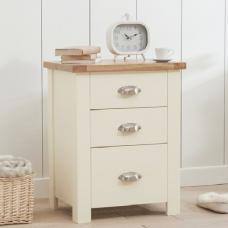 Platina Wooden Tall Bedside Cabinet In Oak And Cream