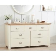Platina Wide Chest Of Drawers In Cream And Oak With 7 Drawers