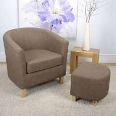 Pleven Fabric Tub Chair With Stool In Linen Effect Cinnamon
