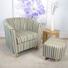 Pleven Fabric Tub Chair With Stool In Duck Egg Blue Stripe