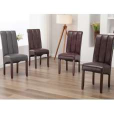 Pluto Dining Chairs In PU With Acacia Legs In A Pair