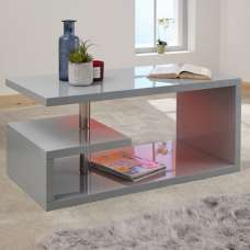 Point Coffee Table In Grey High Gloss With LED Lighting