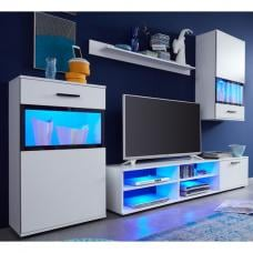 Polar Living Room Furniture Set In White With LED Lighting