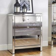 Portofino Mirrored Wide Chest of Drawers With 4 Drawers