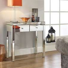 Portofino Mirrored Rectangular Console Table With 2 Drawers