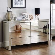 Portofino Mirrored Wide Chest of Drawers With 6 Drawers