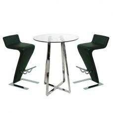 Poseur Bar Table In Clear Glass With 2 Farello Black Bar Stools