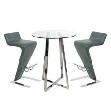 Poseur Bar Table In Clear Glass With 2 Farello Grey Bar Stools