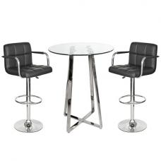 Poseur Bar Table In Clear Glass With 2 Black Glenn Bar Stools