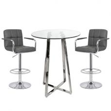 Poseur Bar Table In Clear Glass With 2 Grey Glenn Bar Stools