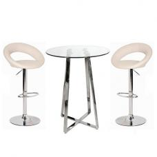 Poseur Bar Table In Clear Glass With 2 Leoni Cream Bar Stools