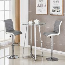 Poseur Glass Bar Table With 2 Ritz Grey And White Stools