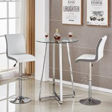 Poseur Glass Bar Table With 2 Ritz White And Grey Bar Stools