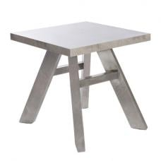 Presto End Table In Concrete Effect With Brushed Steel Legs