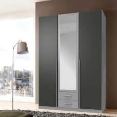 Primera Mirrored Wardrobe In Aluminium Effect Graphite 3 Doors