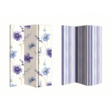 Riviera Blue Floral Canvas Double Sided Room Divider With Stripe