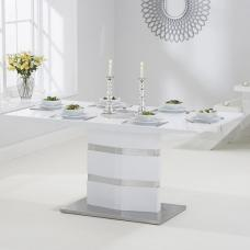 Quattro Dining Table In White High Gloss And Brushed Metal Base
