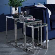 Quillon Glass Nest Of 3 Tables In Clear And Nickel Finish Frame