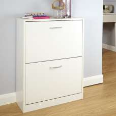 Rachel Contemporary Wooden Shoe Storage Cabinet In White