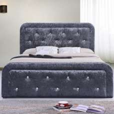 Ravello Fabric Storage Double Bed In Dark Grey Crushed Velvet