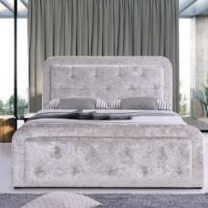 Ravello Fabric Storage Double Bed In Cream Crushed Velvet