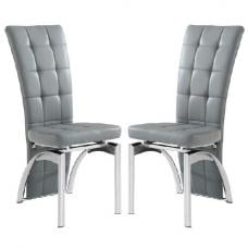 Ravenna Dining Chair In Grey Faux Leather in A Pair